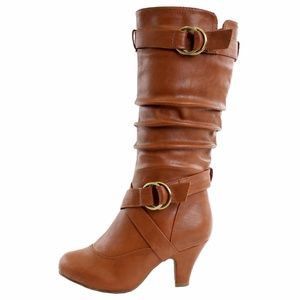 Women's Buckle Strap PU Leather Dress Boots 6.5